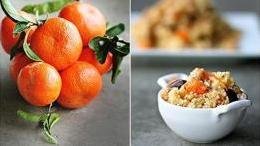 Tangerine Couscous with Garbanzos, Olives and Pine Nuts